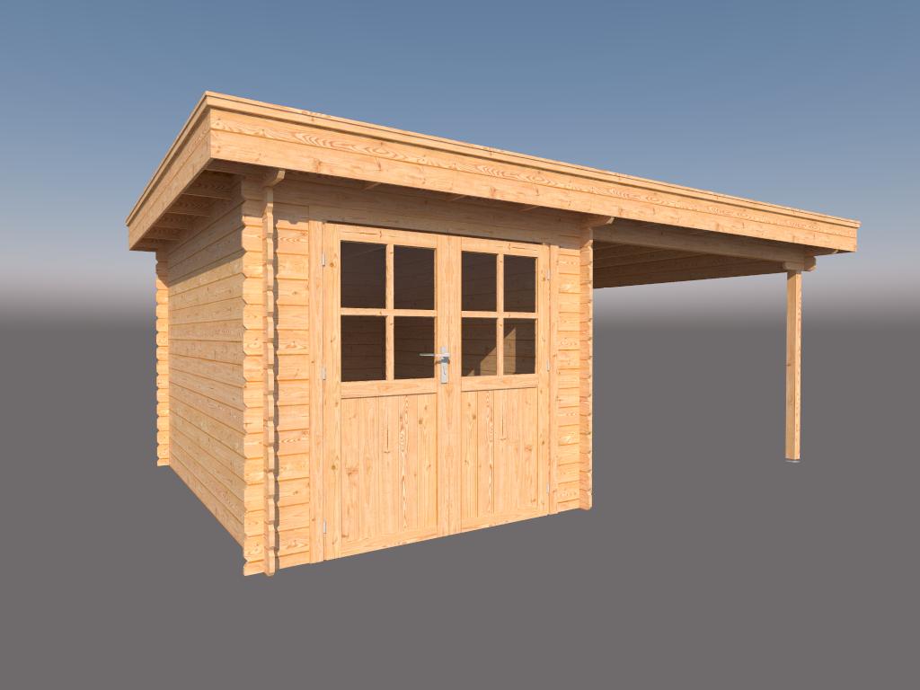 DWF Blokhut met overkapping plat dak 250 x 350 + 300cm