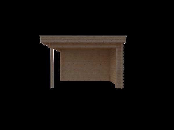 DWF Blokhut met overkapping plat dak 250 x 350 + 250cm