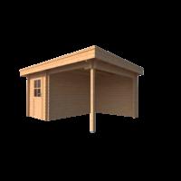 DWF Blokhut met overkapping plat dak 200 x 350 + 250cm