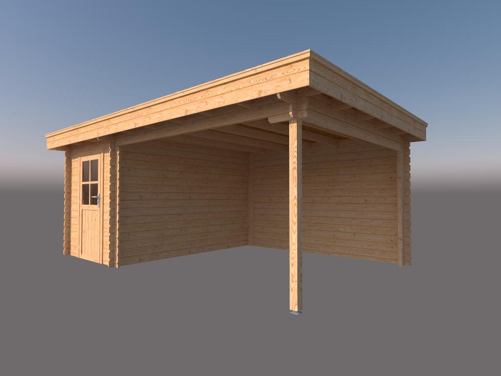 DWF Blokhut met overkapping plat dak 200 x 350 + 350cm