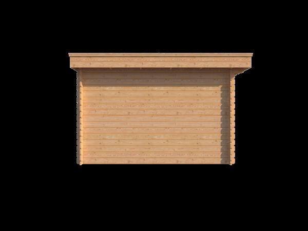 DWF Blokhut met overkapping plat dak 200 x 350 + 400cm