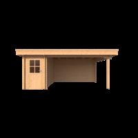 DWF Blokhut met overkapping plat dak 150 x 350 + 400cm