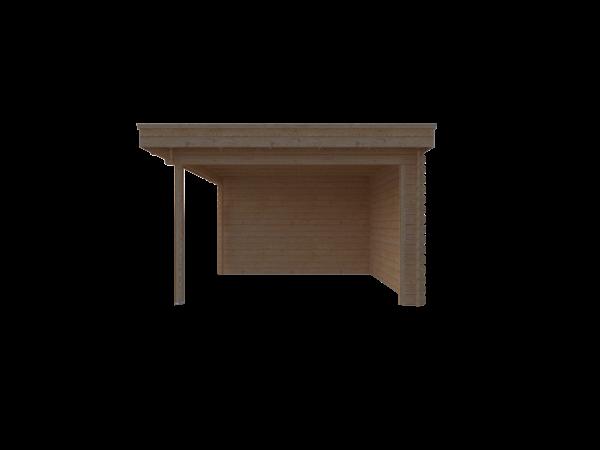 DWF Blokhut met overkapping plat dak 150 x 350 + 350cm