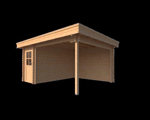 DWF Blokhut met overkapping plat dak 150 x 350 + 300cm