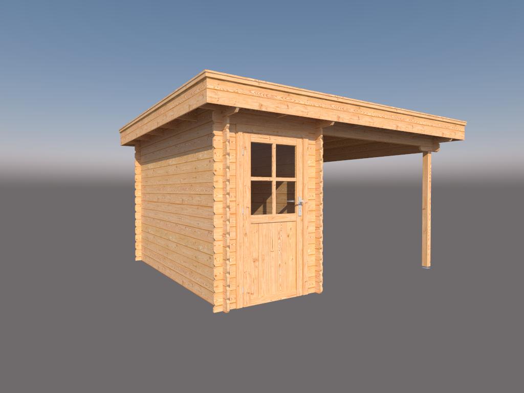 DWF Blokhut met overkapping plat dak 150 x 350 + 250cm