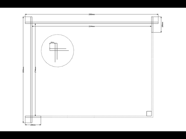 DWF Houten overkapping plat dak 250 x 200cm