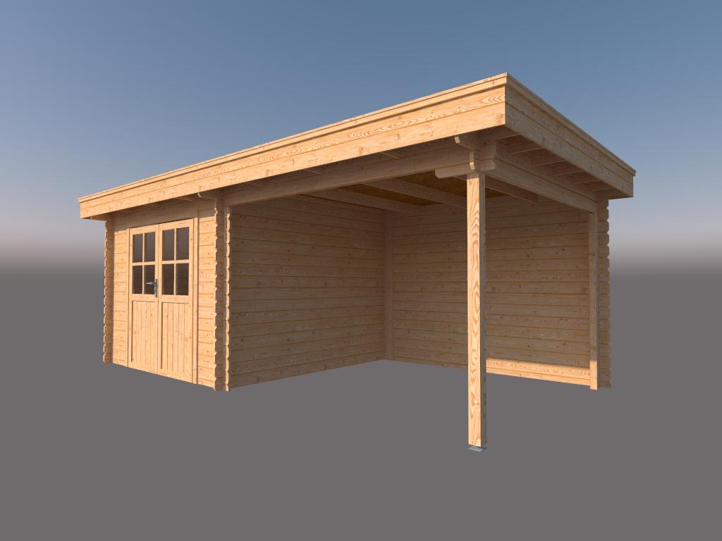 DWF Blokhut met overkapping plat dak 300 x 300 + 300cm