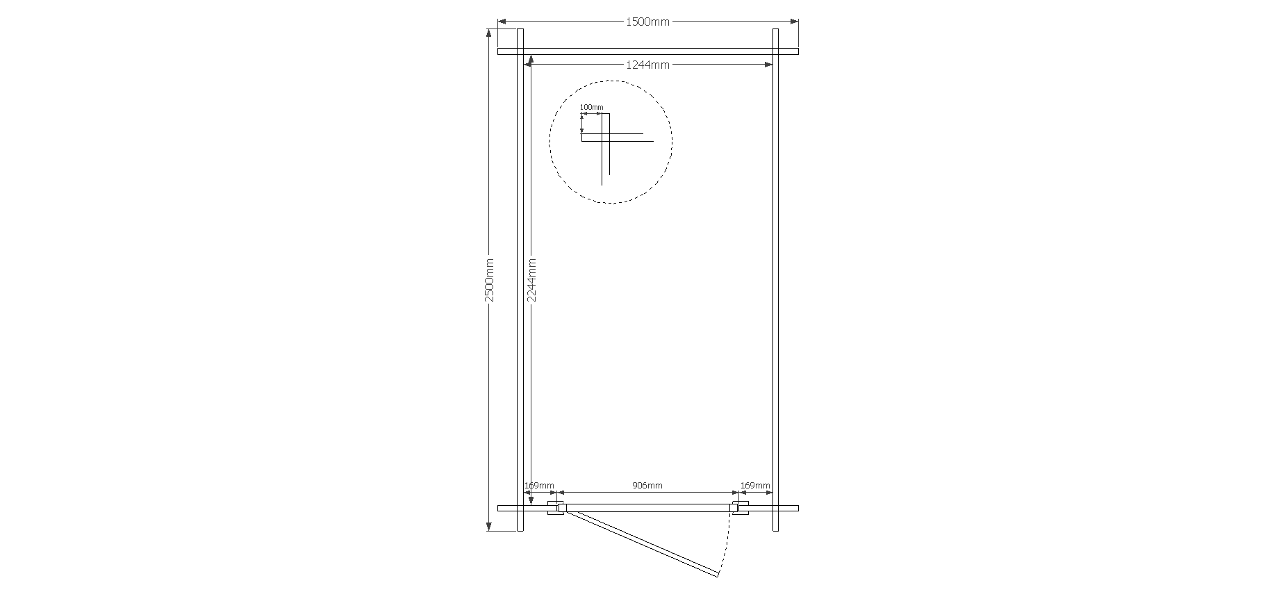 DWF Blokhut plat dak 150 x 250cm