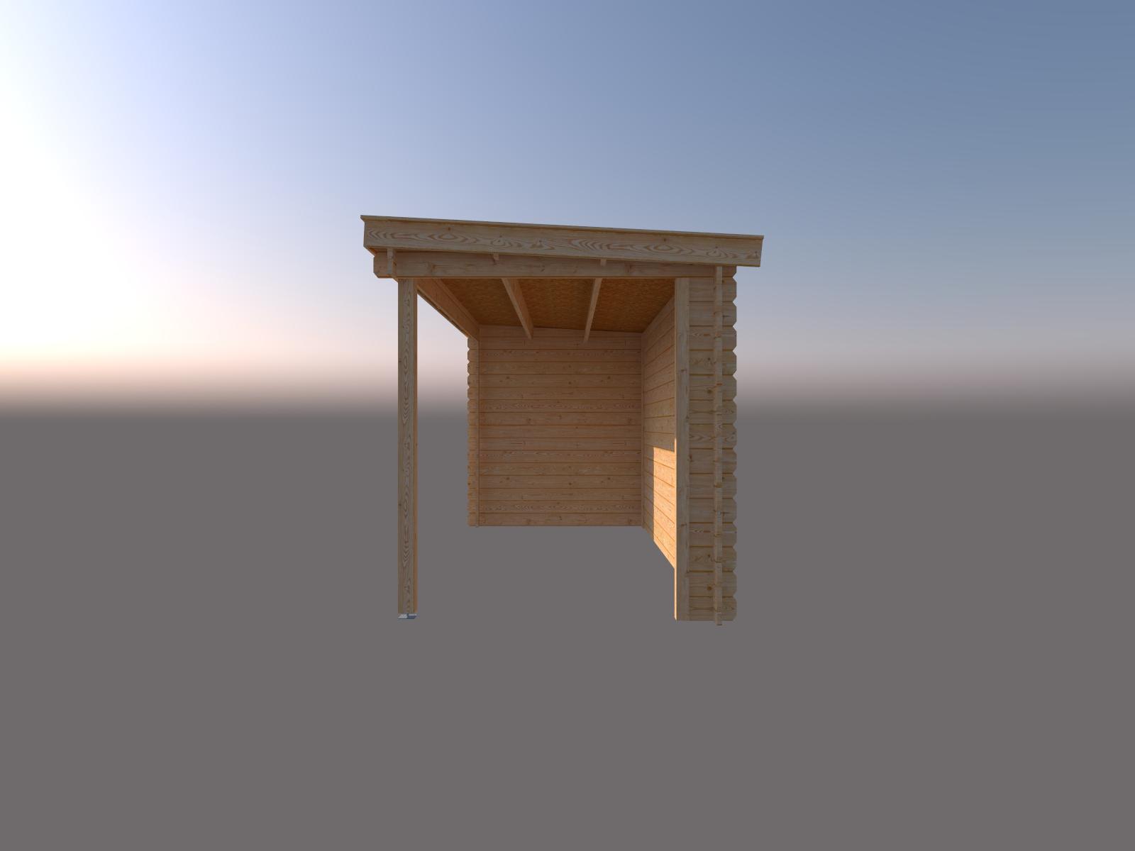 DWF Blokhut met overkapping lessenaar dak 350 x 200 + 400cm