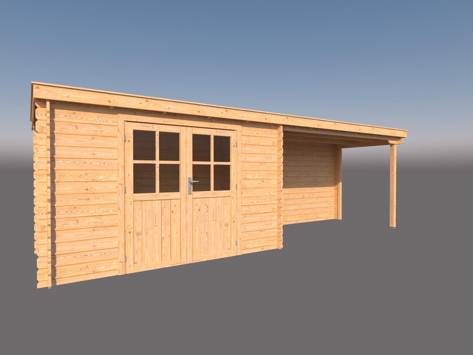 DWF Blokhut met overkapping lessenaar dak 350 x 200 + 350cm