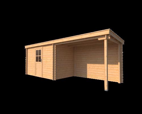 DWF Blokhut met overkapping lessenaar dak 350 x 200 + 300cm