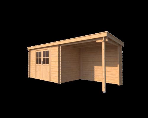 DWF Blokhut met overkapping lessenaar dak 350 x 200 + 250cm