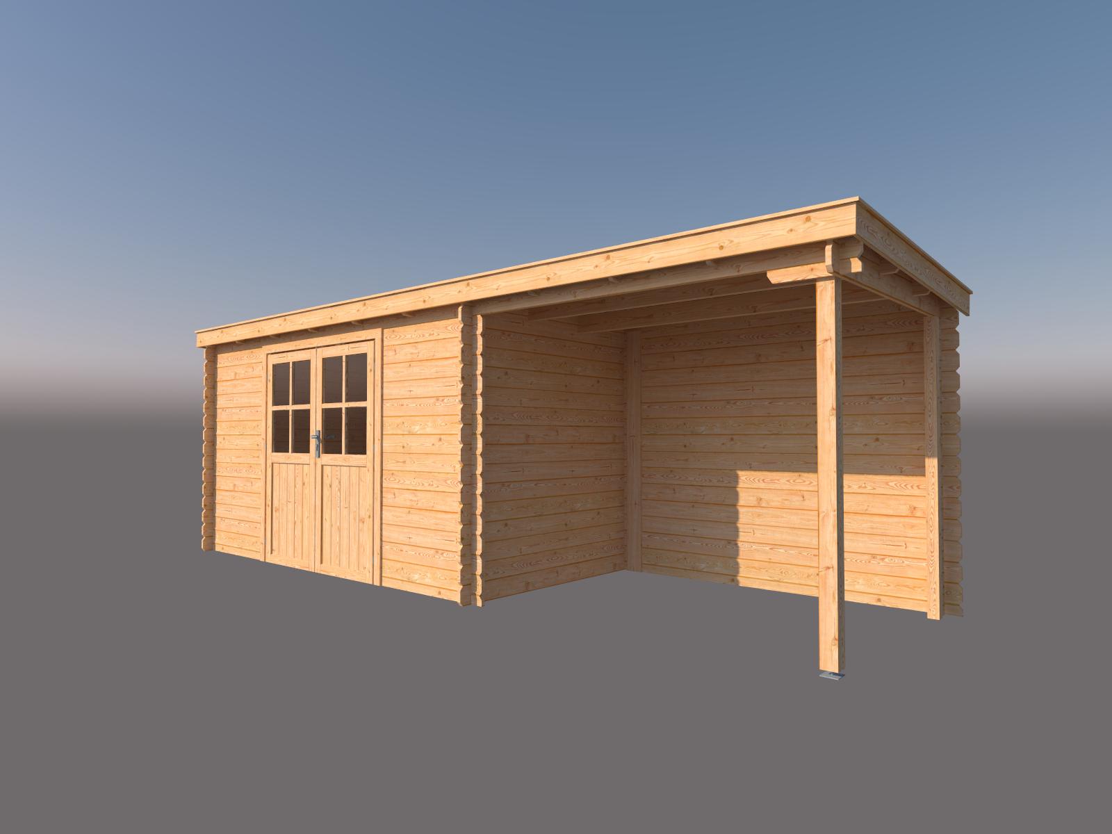 DWF Blokhut met overkapping lessenaar dak 400 x 200 + 250cm