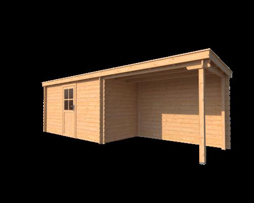 DWF Blokhut met overkapping lessenaar dak 400 x 200 + 300cm