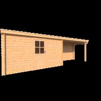 DWF Blokhut met overkapping lessenaar dak 400 x 200 + 350cm