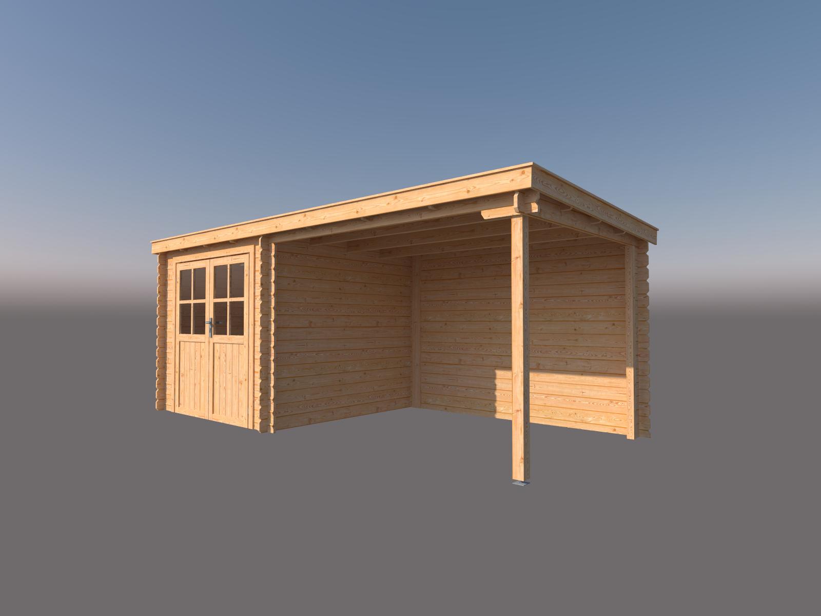 DWF Blokhut met overkapping lessenaar dak 250 x 250 + 300cm