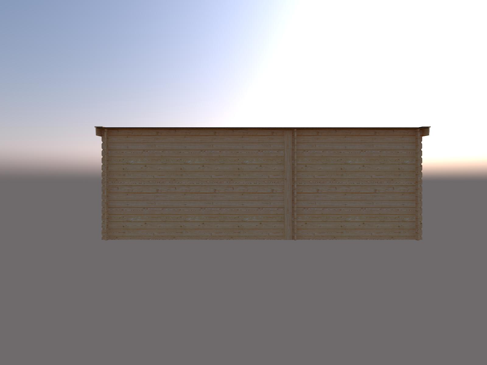 DWF Blokhut met overkapping lessenaar dak 250 x 250 + 350cm