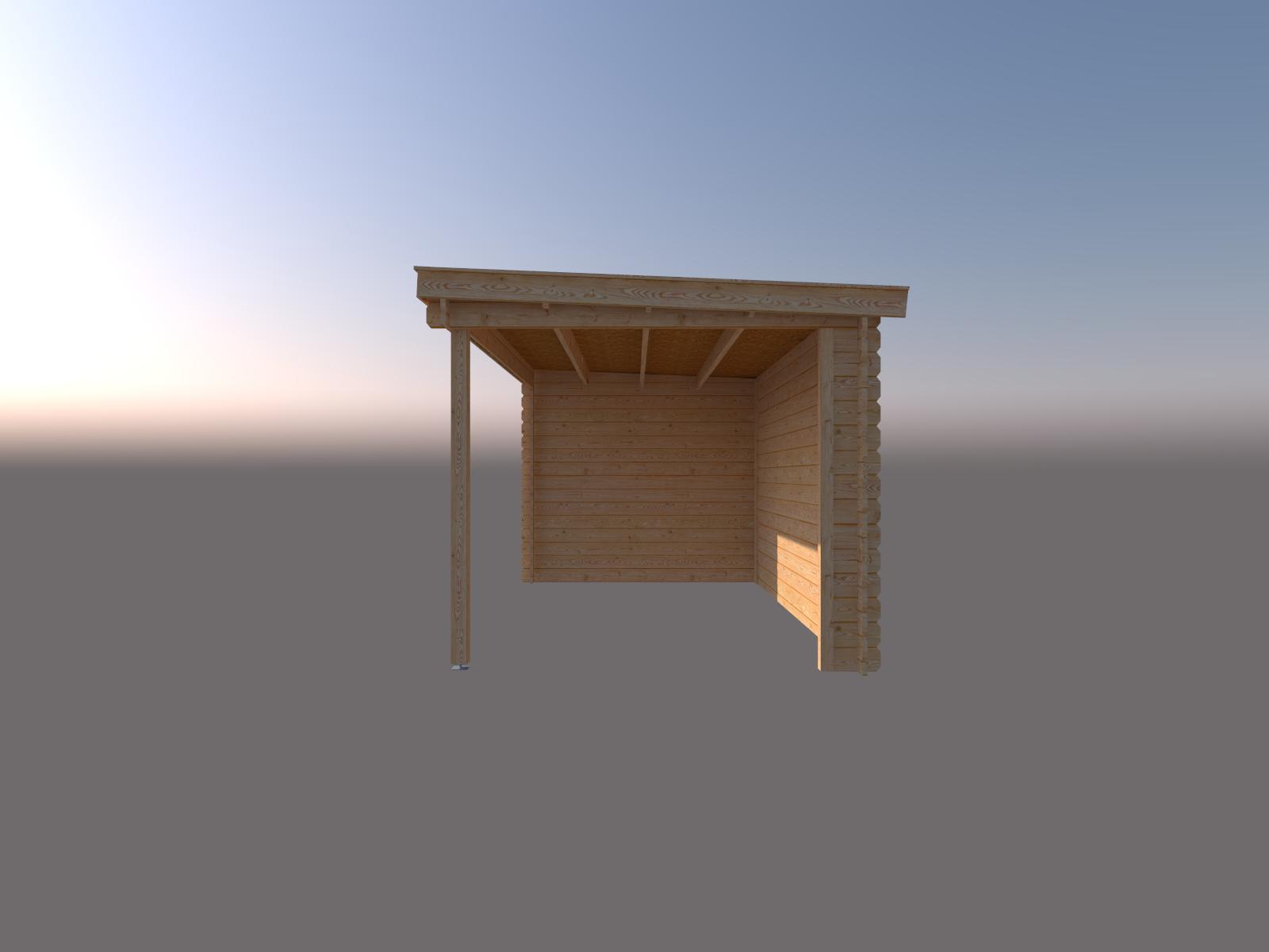 DWF Blokhut met overkapping lessenaar dak 250 x 250 + 400cm
