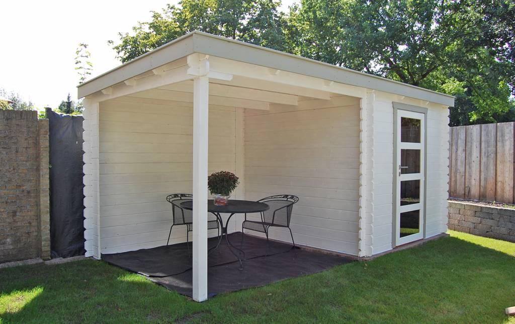 DWF Blokhut met overkapping lessenaar dak 300 x 250 + 350cm