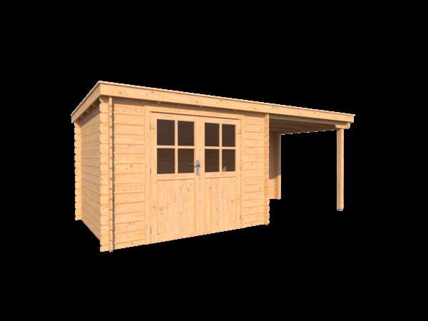 DWF Blokhut met overkapping lessenaar dak 300 x 250 + 250cm