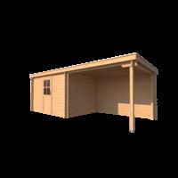 DWF Blokhut met overkapping lessenaar dak 350 x 250 + 300cm