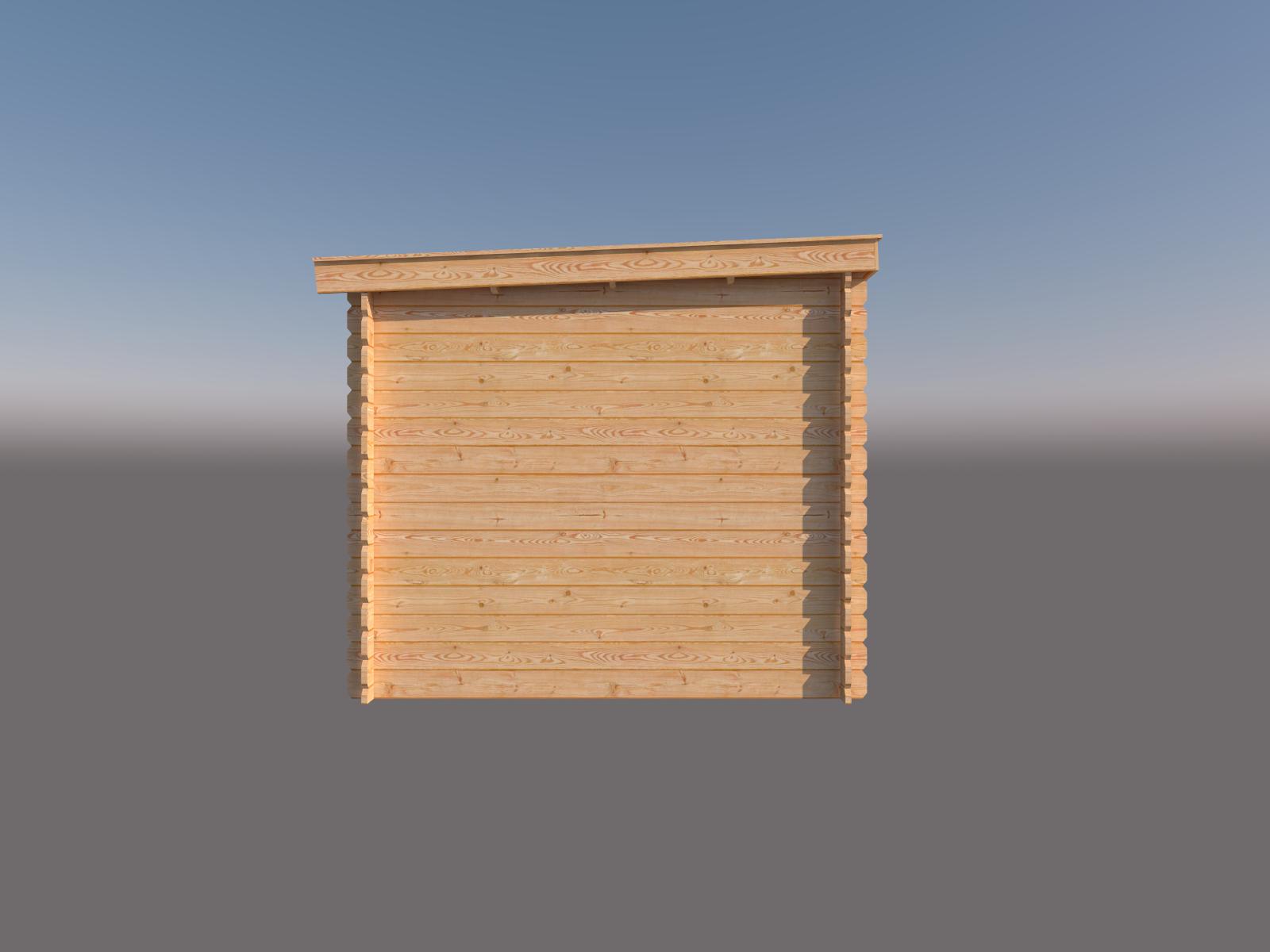 DWF Blokhut met overkapping lessenaar dak 350 x 250 + 350cm