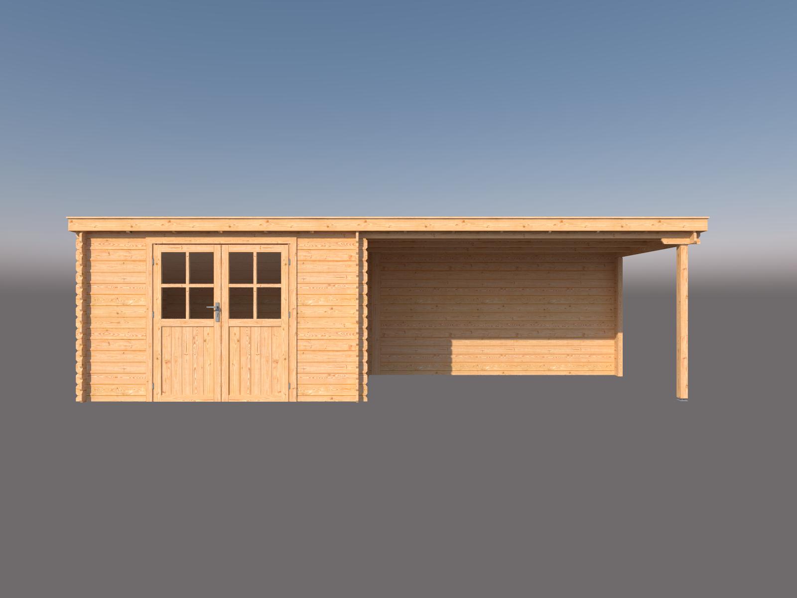 DWF Blokhut met overkapping lessenaar dak 350 x 250 + 400cm