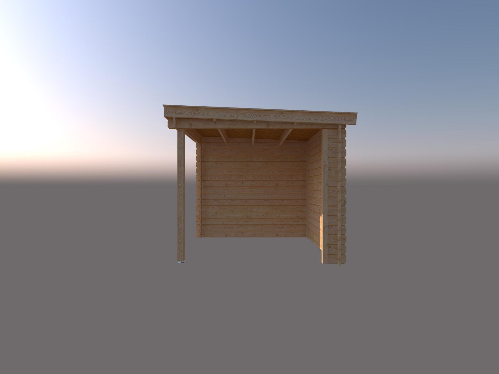 DWF Blokhut met overkapping lessenaar dak 400 x 250 + 250cm