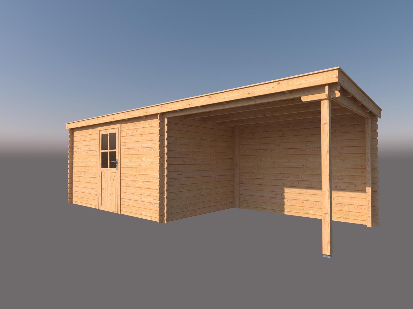 DWF Blokhut met overkapping lessenaar dak 400 x 250 + 300cm