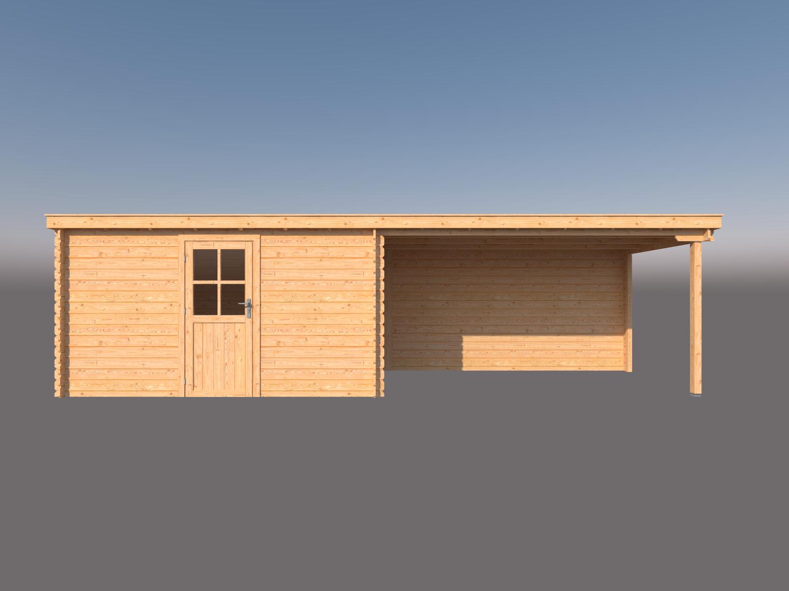 DWF Blokhut met overkapping lessenaar dak 400 x 250 + 400cm