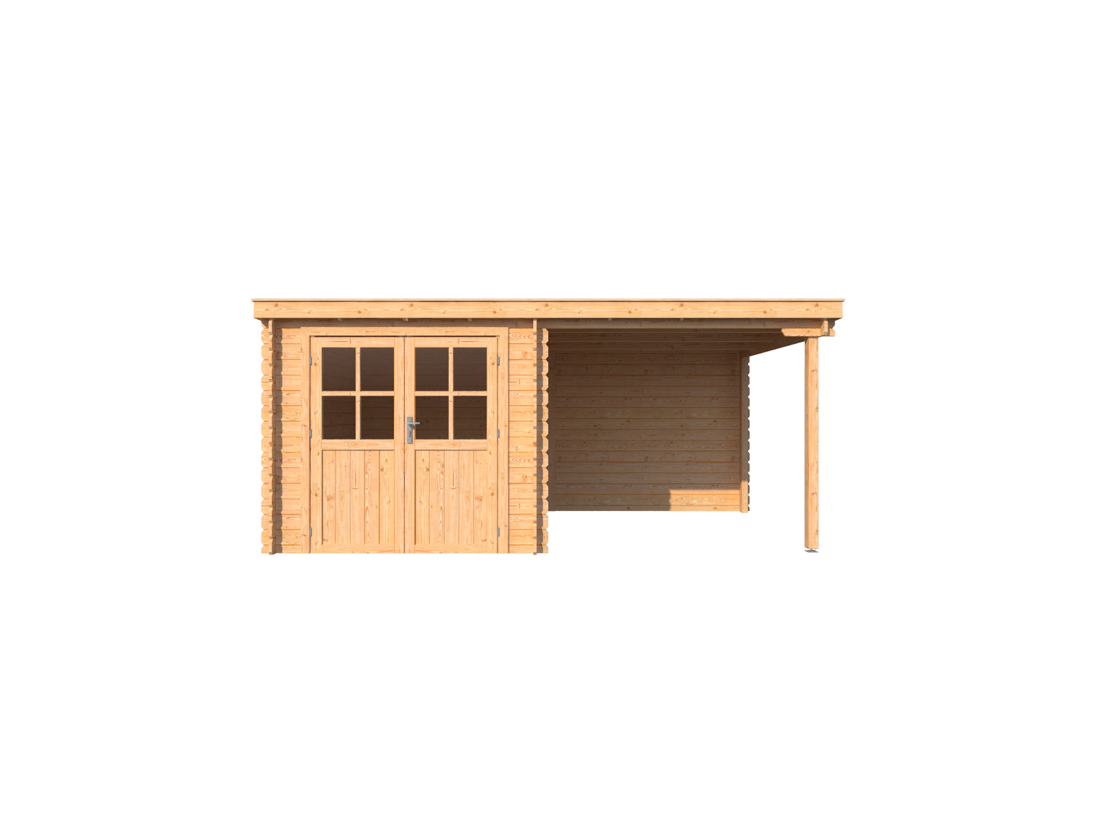 DWF Blokhut met overkapping lessenaar dak 250 x 300 + 250cm