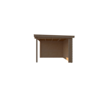 DWF Blokhut met overkapping lessenaar dak 250 x 300 + 300cm