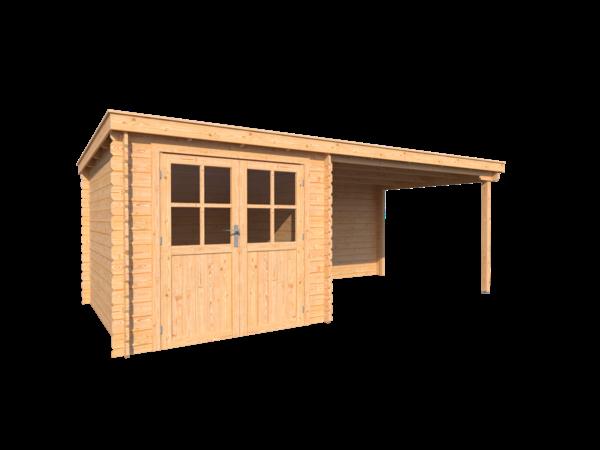 DWF Blokhut met overkapping lessenaar dak 250 x 300 + 350cm