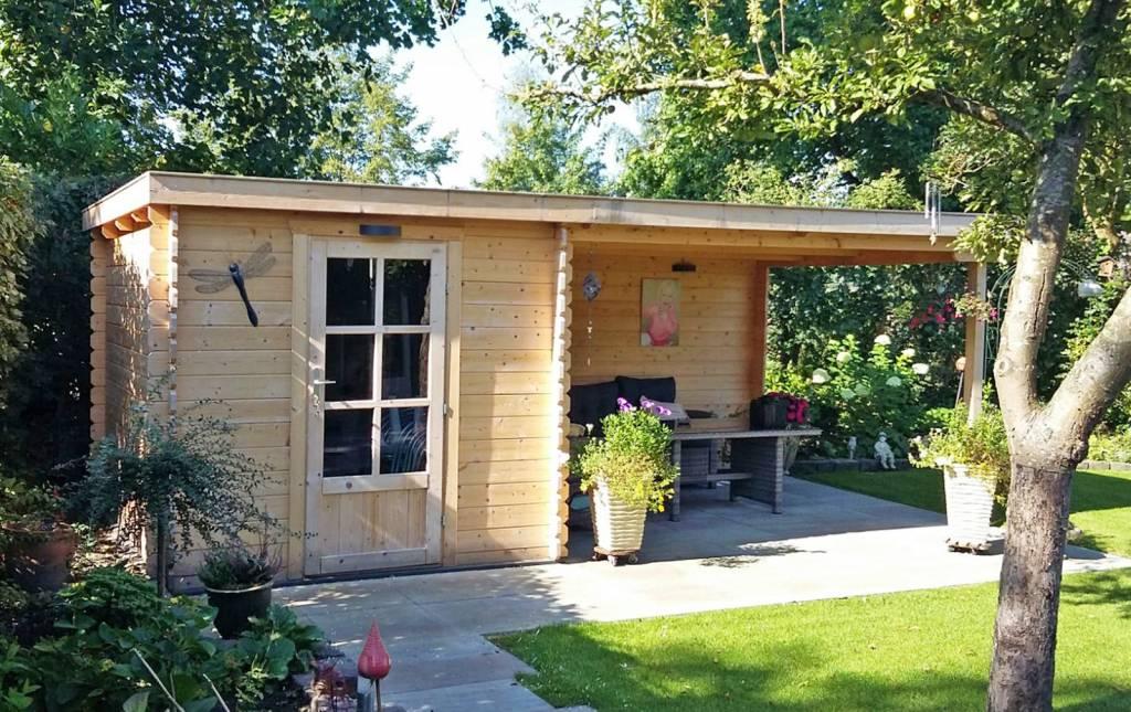 DWF Blokhut met overkapping lessenaar dak 250 x 300 + 400cm