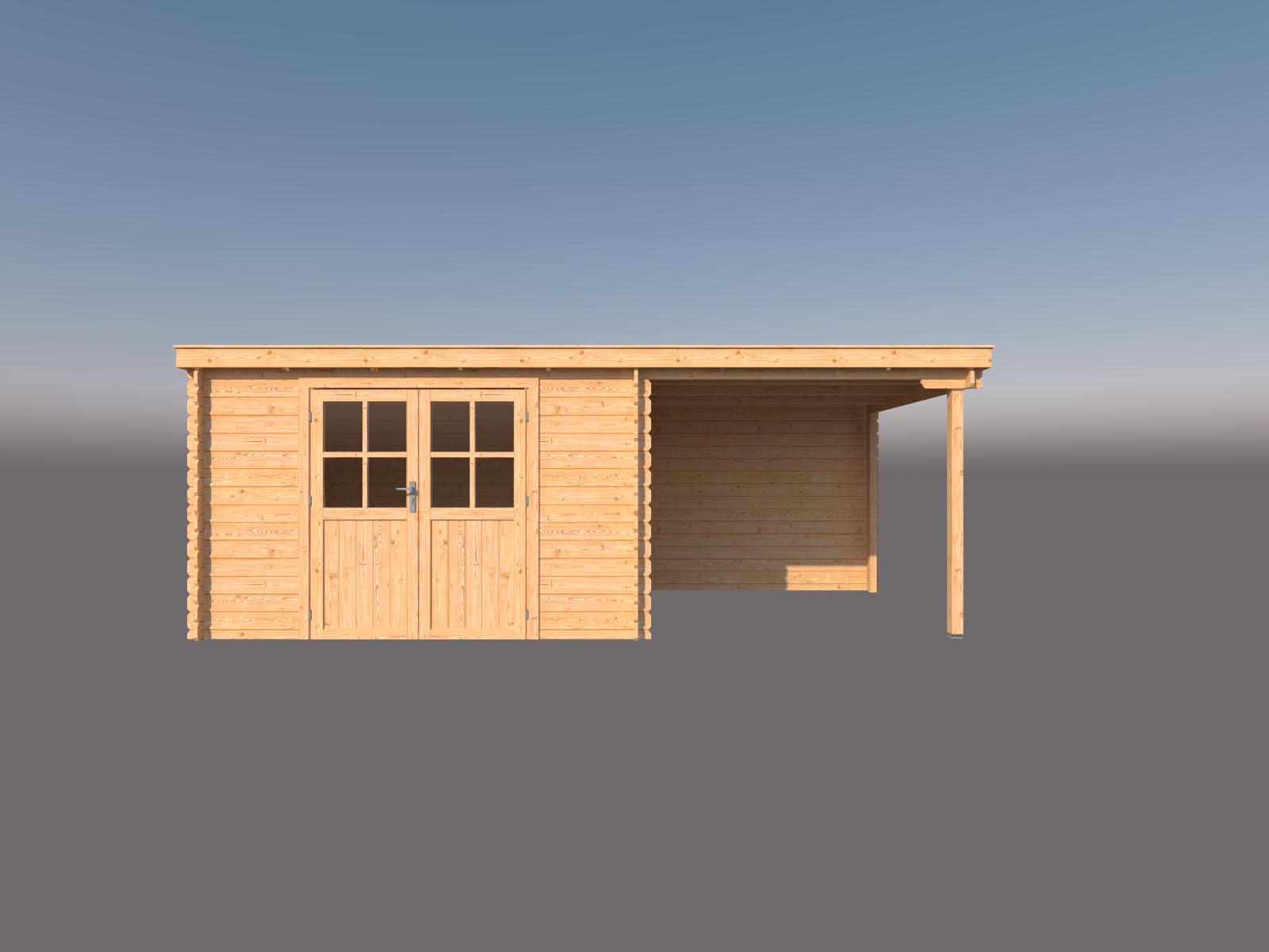 DWF Blokhut met overkapping lessenaar dak 350 x 300 + 250cm