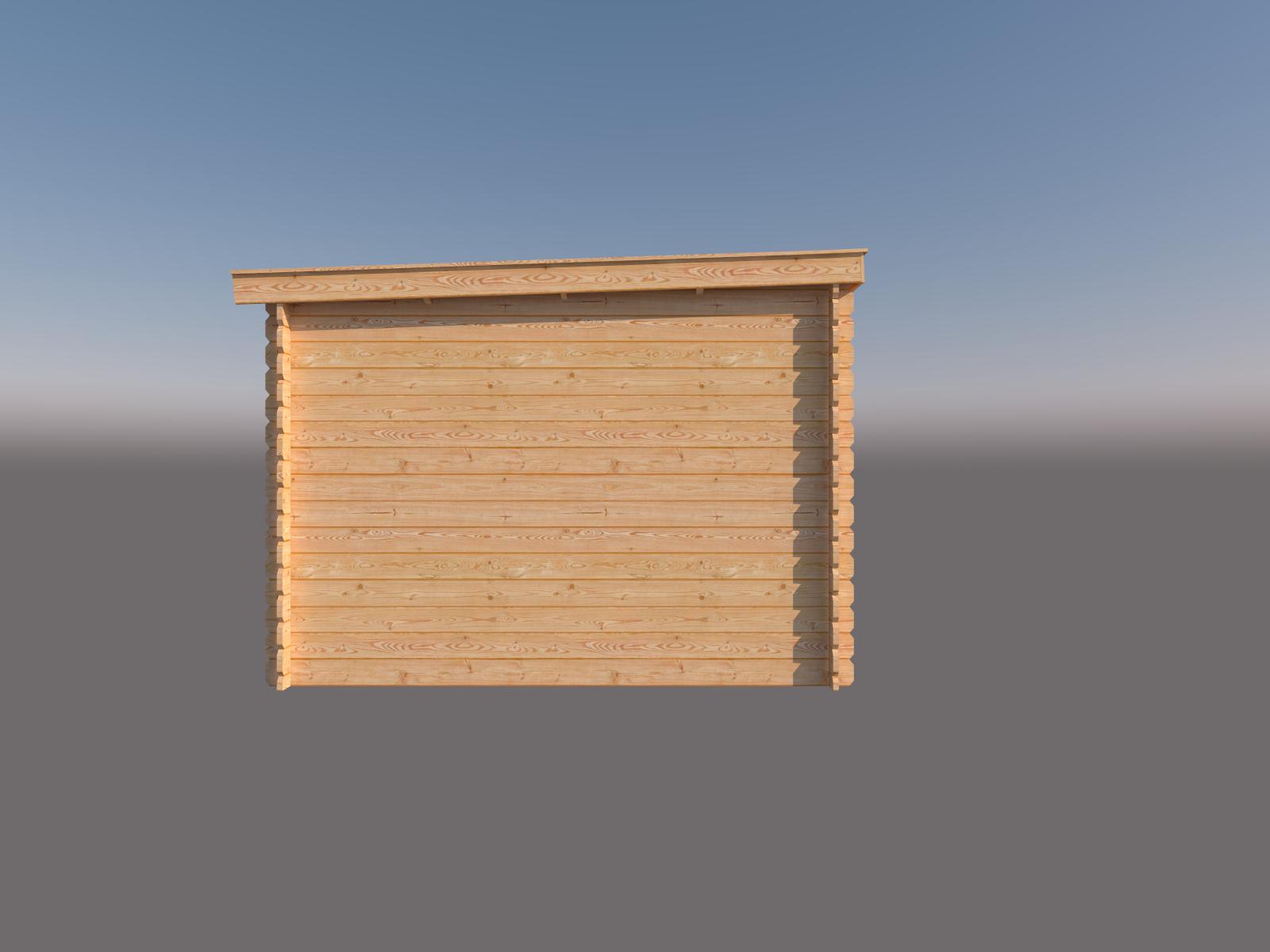 DWF Blokhut met overkapping lessenaar dak 350 x 300 + 300cm