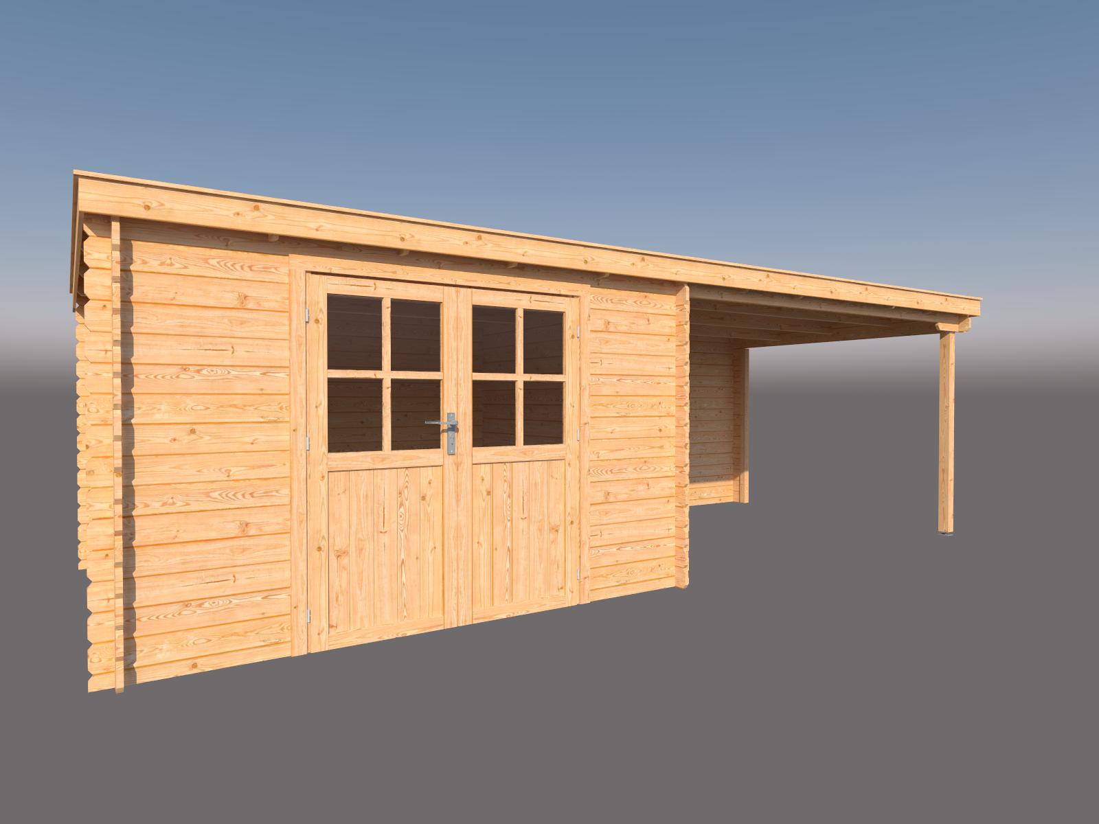 DWF Blokhut met overkapping lessenaar dak 350 x 300 + 350cm