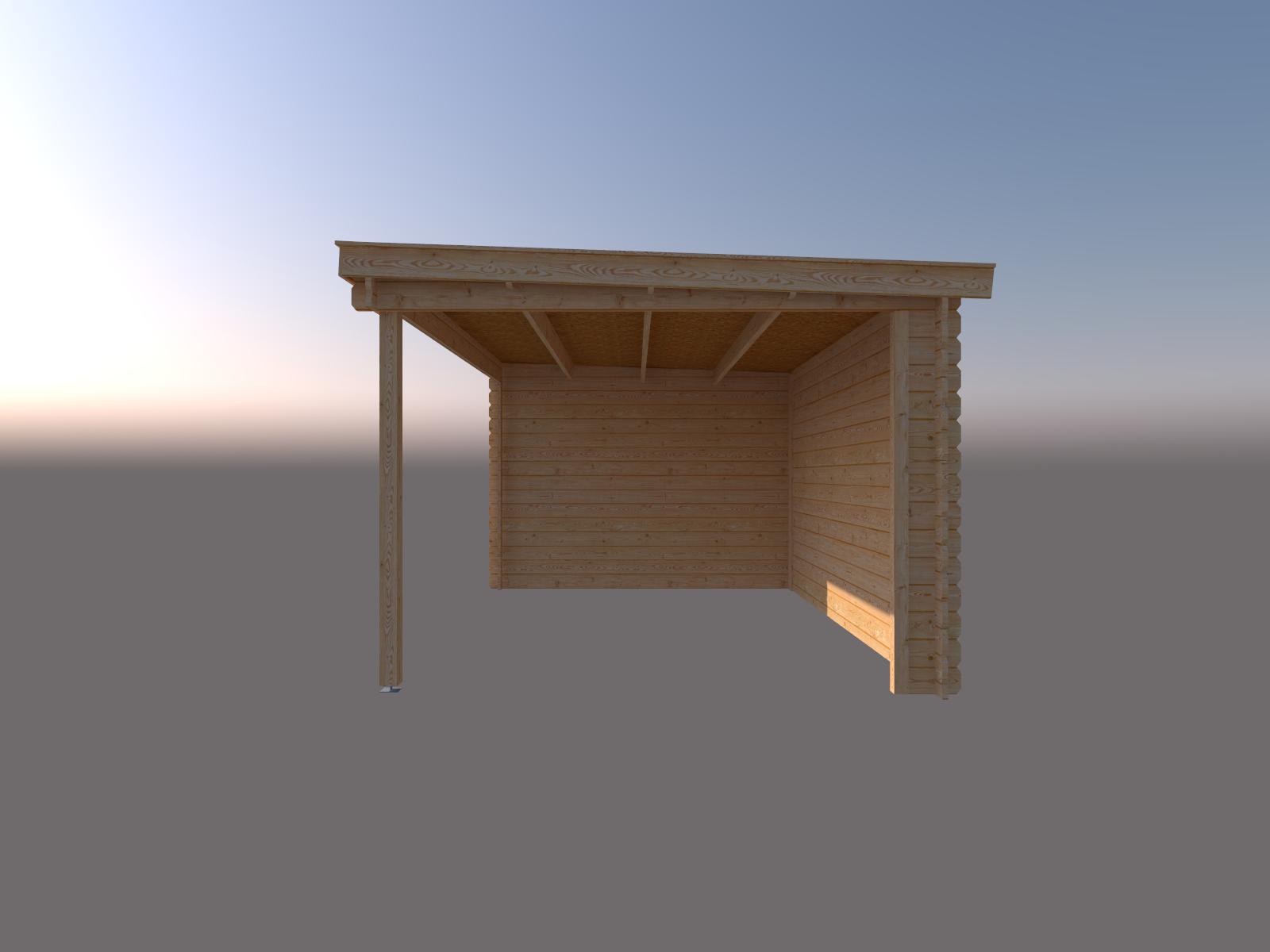 DWF Blokhut met overkapping lessenaar dak 350 x 300 + 400cm