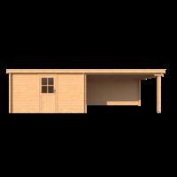 DWF Blokhut met overkapping lessenaar dak 400 x 300 + 400cm