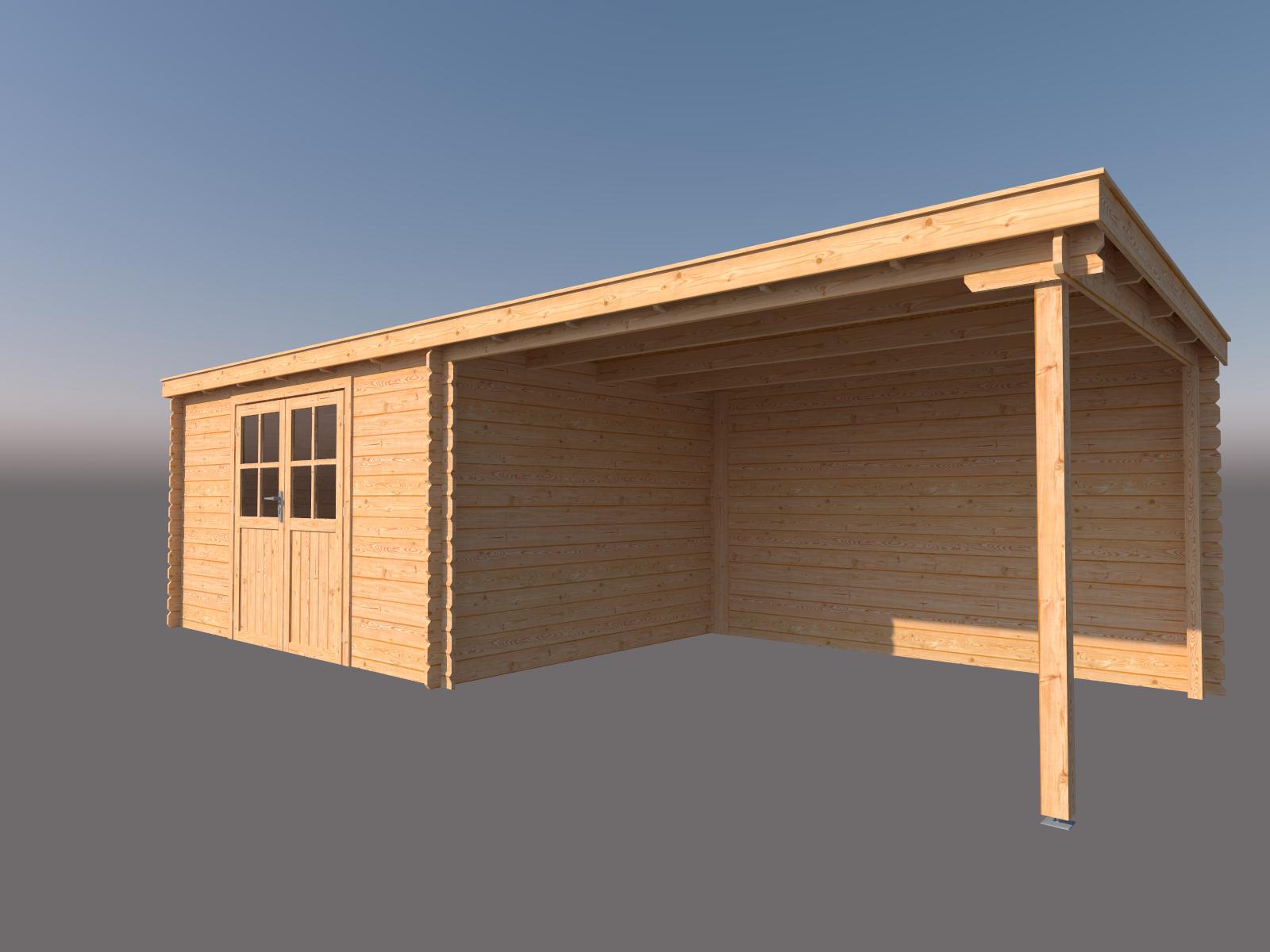 DWF Blokhut met overkapping lessenaar dak 400 x 300 + 350cm