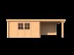 DWF Blokhut met overkapping lessenaar dak 400 x 300 + 300cm