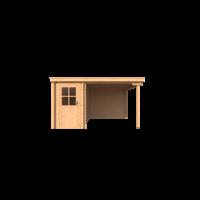 DWF Blokhut met overkapping lessenaar dak 150 x 350 + 250cm