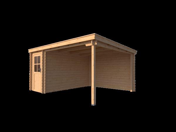 DWF Blokhut met overkapping lessenaar dak 150 x 350 + 300cm