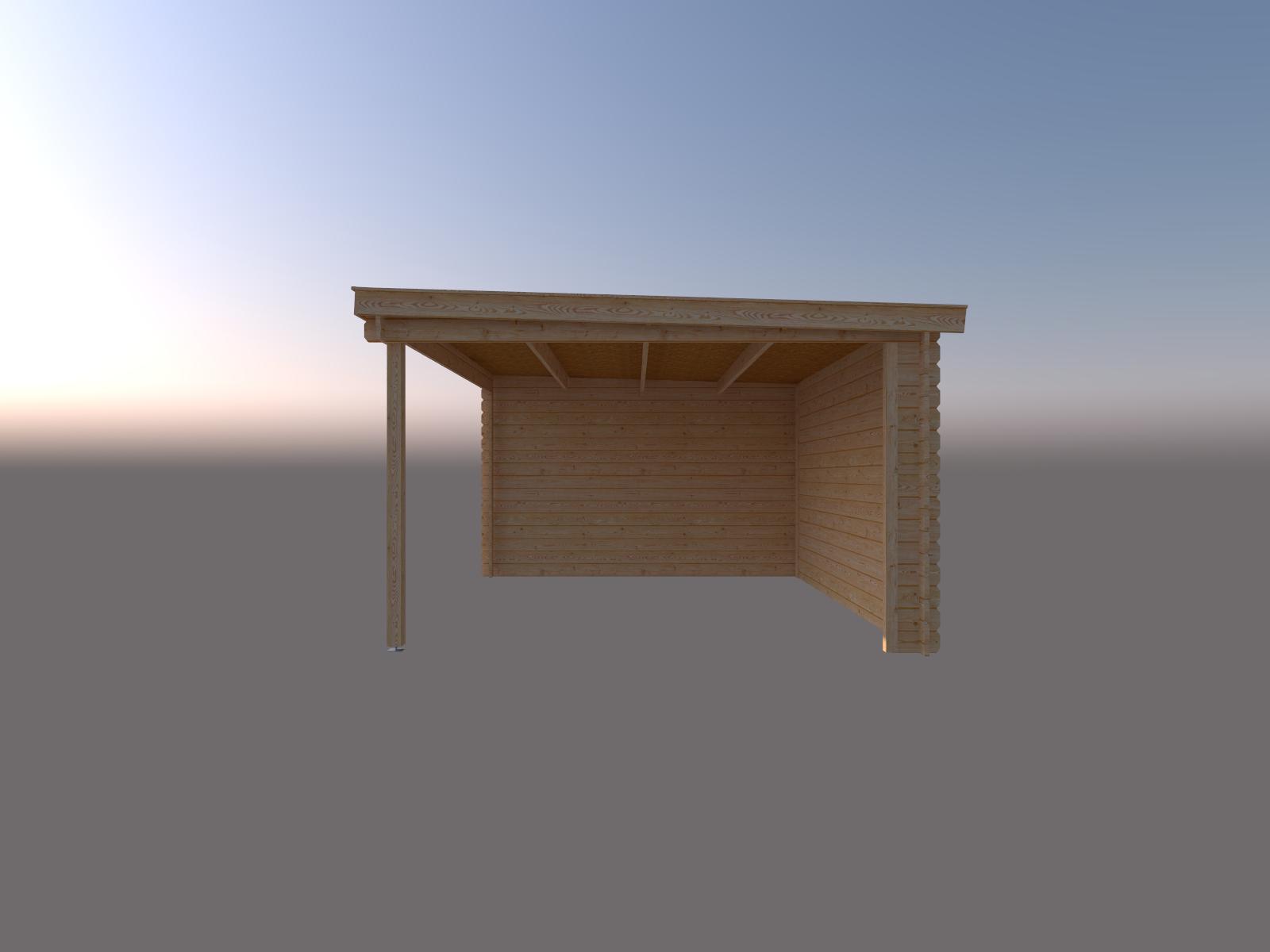DWF Blokhut met overkapping lessenaar dak 150 x 350 +400cm