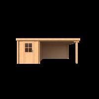 DWF Blokhut met overkapping lessenaar dak 200 x 350 +350cm