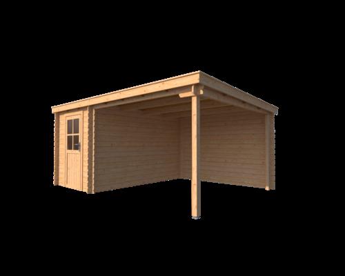 DWF Blokhut met overkapping lessenaar dak 200 x 350 + 300cm