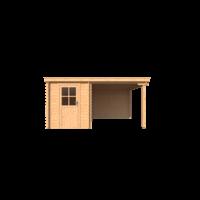 DWF Blokhut met overkapping lessenaar dak 200 x 350 +250cm