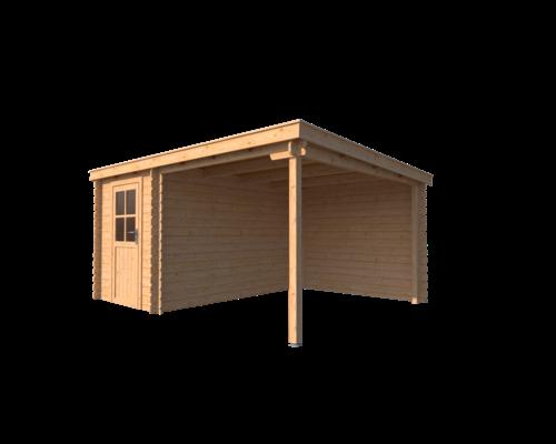DWF Blokhut met overkapping lessenaar dak 200 x 350 + 250cm