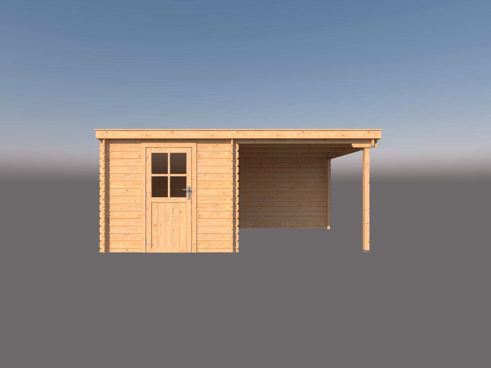 DWF Blokhut met overkapping lessenaar dak 250 x 350 +250cm