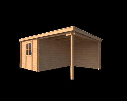 DWF Blokhut met overkapping lessenaar dak 250 x 350 + 250cm